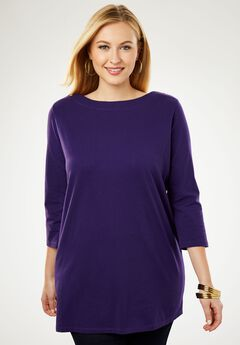 Refined Boatneck Tunic with Goldtone Buttons, DEEP GRAPE