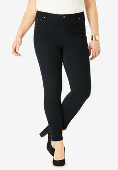 True Fit Zip Ankle Pant, BLACK