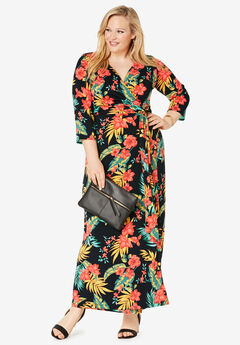 Faux Wrap Maxi Dress, BLACK TROPICAL BOUQUET
