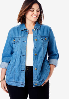 Classic Cotton Denim Jacket, MEDIUM STONEWASH