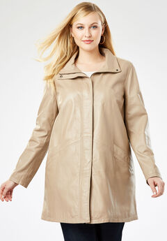 A-Line Zip Front Leather Jacket, NEW KHAKI