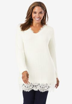 Lace Trim Sweater,