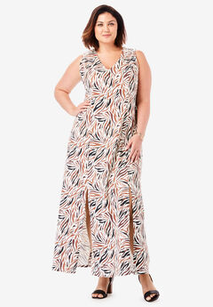 Denim A-Line Maxi Dress, NUTMEG ZEBRA