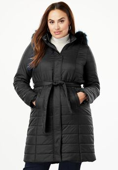 Belted Puffer Coat, BLACK