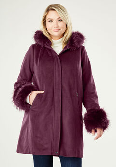 Hooded Faux Fur Trim Coat, DEEP MERLOT