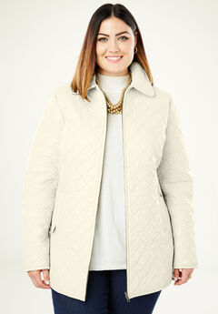Quilted Zip-Front Leather Jacket, IVORY