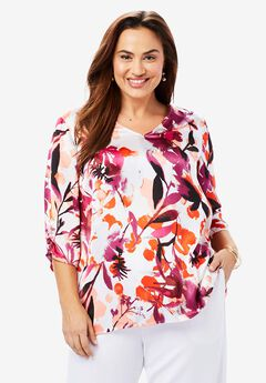 Satin V-Neck Blouse,