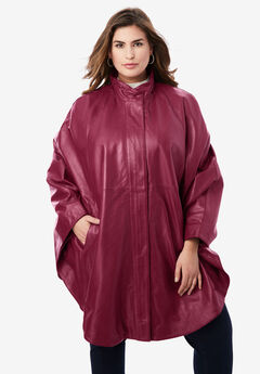 Leather Poncho, DARK WINE