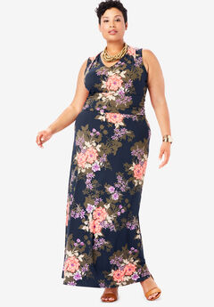 V-Neck Maxi Dress, NAVY SHADOW BOUQUET