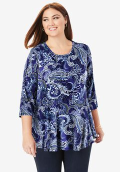 Swing Tunic, NAVY PAISLEY