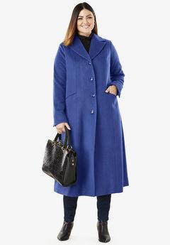 Full Length Wool Blend Coat, ULTRA BLUE