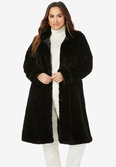 Faux Fur Swing Coat, BLACK