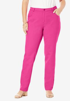 Classic Cotton Denim Straight Jeans, TROPICAL RASPBERRY