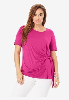 Side-Tie Tee, TROPICAL RASPBERRY
