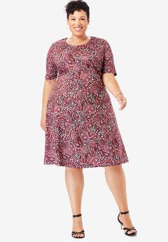 Ponté Knit Elbow Dress with Scoop Neckline, BLACK FLOWER PAISLEY