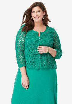 Crochet Sweater, VIVID EMERALD
