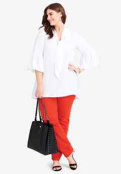 Bell Sleeve Bow Blouse, WHITE