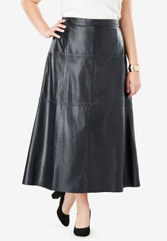 Leather Midi Skirt, BLACK