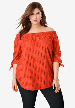 Eyelet Off-The-Shoulder Shirt,