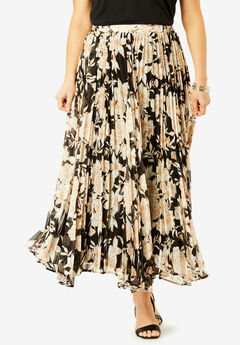Pleated Maxi Skirt, BLACK BOTANICAL FLORAL