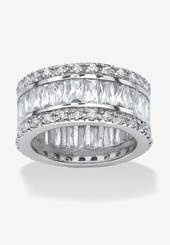 Platinum over Sterling Silver Cubic Zirconia Eternity Bridal Ring,