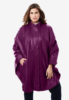 Leather Poncho, DARK BERRY