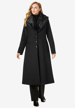 Long Wool-Blend Coat with Faux Fur Collar, BLACK