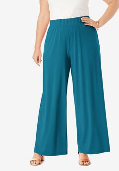 Travel Knit Wide Leg Pants, DEEP TEAL