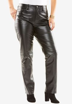 Straight Leg Leather Pants,