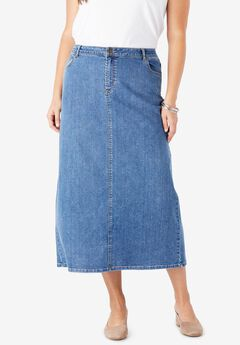 True Fit Denim Skirt, MEDIUM STONEWASH