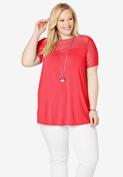 Lace Yoke Tunic, HOT RED