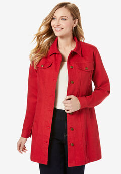 Long Denim Jacket, CLASSIC RED