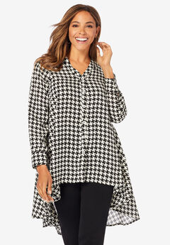 Hi-Low Georgette Tunic, IVORY HOUNDSTOOTH