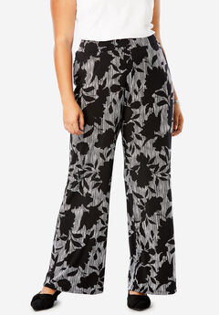 Travel Knit Wide Leg Pants, BLACK SHADOW FLORAL