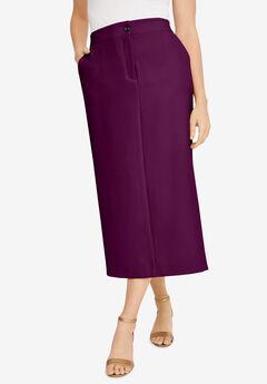 Tummy Control Bi-Stretch Midi Skirt, DARK BERRY