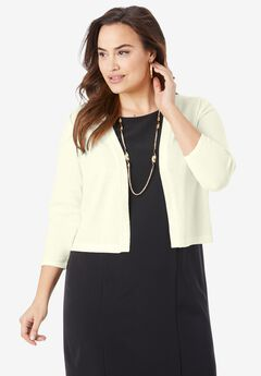 Three-Quarter Sleeve Shrug, IVORY