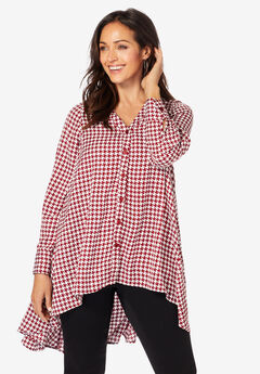 Hi-Low Georgette Tunic, RICH BURGUNDY HOUNDSTOOTH