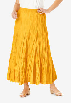 Cotton Crinkled Maxi Skirt, SUNSET YELLOW