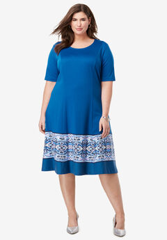 Ponté Knit Elbow Dress with Scoop Neckline, COBALT BLUE MOSAIC BORDER