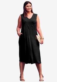 V-Neck Fit & Flare Dress,