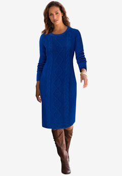 Cable Sweater Dress, TWILIGHT BLUE