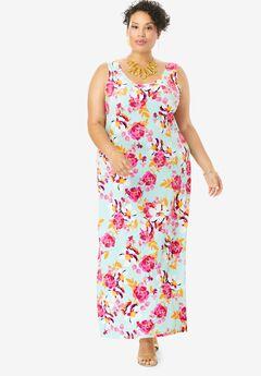 Sleeveless Maxi Dress, AQUA FLORAL GARDEN