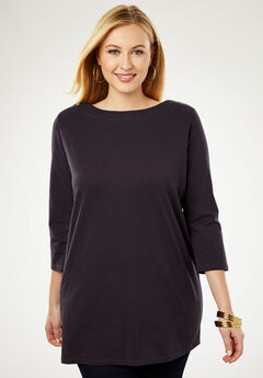 Refined Boatneck Tunic with Goldtone Buttons, BLACK