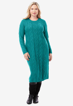 Cable Sweater Dress, GEMSTONE GREEN