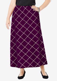 Wool-Blend Maxi Skirt, BERRY STRIPED WINDOW PANE