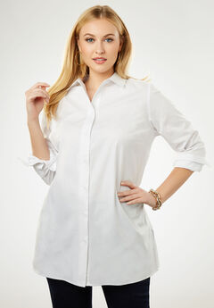 Long Sleeve Collared Poplin Tunic, WHITE