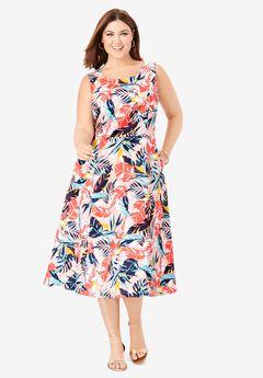 Linen Fit & Flare Dress, PARADISE GARDEN