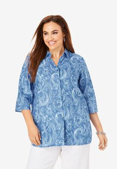 Linen Tunic, BLUE DOTTED PAISLEY