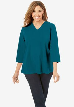 V-Neck Tee, DEEP TEAL