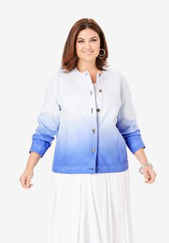 Collarless Denim Jacket, TRUE BLUE OMBRE